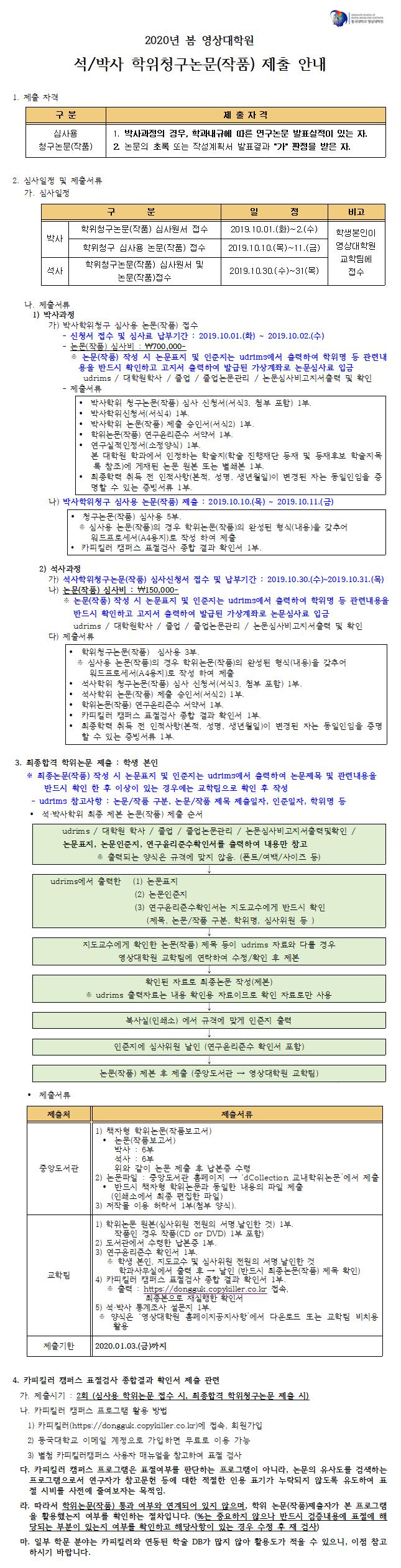 2020 봄 학위청구논문(작품) 제출안내